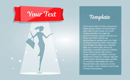 Booklet shopping girls, empty space for Your text. Silhouette woman in template banner. Empty space for your text, object or advertisement Stock Photo