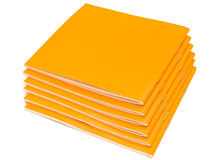 Booklets. Photo of the some orange booklets against the white background Stock Photos