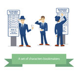 Bookmakerkarakter, beeldverhaal grappige mens Vector illustratie Royalty-vrije Stock Fotografie