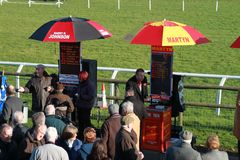 BOOKMAKERS AT FAKENHAM RACET RACK Stock Images