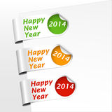 Bookmark curled corner 2014. Set of green, yellow, orange and red bookmarks with curled corner for celebrating of the happy new year 2014. Vector illustration royalty free illustration