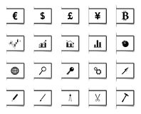 Bookmark design Icons. Set of 20 black and white icons in bookmark design Stock Images
