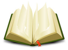 Bookmark And Flipping Pages. Illustration of a cartoon opened green book with flipping pages and a red bookmark royalty free illustration