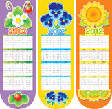 Bookmark with flowers. Three bookmarks with flowers: calendar of 2012 Stock Photos