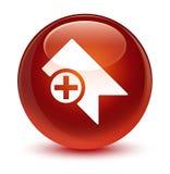 Bookmark icon glassy brown round button Stock Photo
