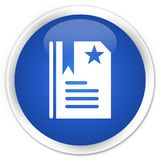Bookmark icon premium blue round button Stock Image