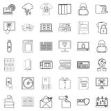 Bookmark icons set, outline style Stock Photo