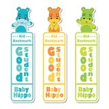 Bookmark label  cartoon with cute baby hippos on colorful background   Royalty Free Stock Photography