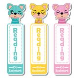Bookmark label  cartoon with cute fox girls on colorful background     Stock Photo