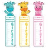 Bookmark label  cartoon with cute giraffes on colorful background   Stock Photography