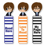 Bookmark label  cartoon with cute witch boy on colorful background suitable for kid bookmark label design. Bookmark tag and sticker set Stock Images