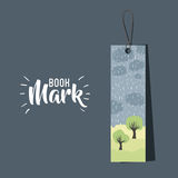Bookmark label tag design. Bookmark with clouds rain and trees icon. Guidebook decoration reading and literature  theme. Colorful design. Vector illustration Royalty Free Stock Photo