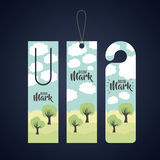 Bookmark label tag design. Bookmark with clouds and trees icon. Guidebook decoration reading and literature  theme. Colorful design. Vector illustration Royalty Free Stock Image