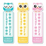 Bookmark label vector cartoon with cute owls on colorful background   Stock Photo