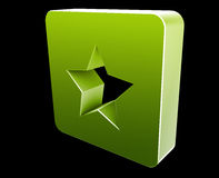 Bookmark navigation icon. Glossy button, square shape Royalty Free Stock Photos