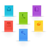 Bookmark paper icons. Search and call,chart and comment,appointment and mail stock illustration