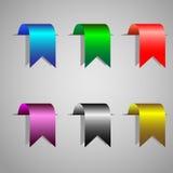 Bookmark ribbons. Colorful bookmark ribbons.Vector set stock illustration