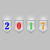 Bookmark ribbons new year. Set of color bookmarks with 2017 numbers Stock Images