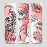 Bookmark set with chinese dragon Stock Images
