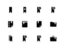 Bookmark, tag, favorite icons on white background. Vector illustration Royalty Free Illustration
