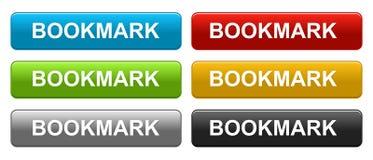 Bookmarknetz knöpft bunt auf Weiß stockbilder