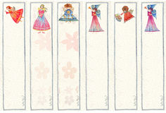 Bookmarks with Angels, Watercolor illustration, Royalty Free Stock Images