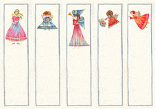 Bookmarks with Angels, Watercolor illustration, Royalty Free Stock Photography
