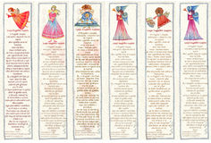 Bookmarks with Angels, Watercolor illustration, Stock Photography