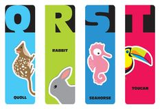 Bookmarks - animal alphabet. Q for quoll, R for rabbit, S for seahorse, T for toucan Stock Illustration