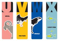 Bookmarks - animal alphabet Stock Photo