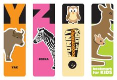 Bookmarks - animal alphabet. Y for yak, Z for zebra; for kids Stock Photos