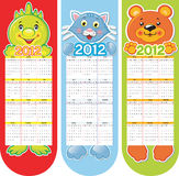 Bookmarks with animals. Three bookmarks with animals: calendar of 2012 vector illustration
