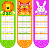 Bookmarks-calendar on a 2013 year. With three cute animals Stock Images