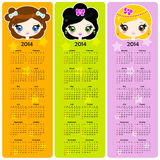Bookmarks with calendar 2014. Bookmarks with girl head and the calendar of 2014 Royalty Free Stock Image