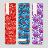 Bookmarks collection with colorful microbes Royalty Free Stock Photo