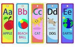 Bookmarks A-E алфавита воспитательные для малышей иллюстрация вектора