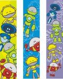 Bookmarks mit Roboterkarikaturen Stockfotografie