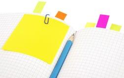 bookmarks notatnika ołówek Obraz Stock