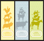 Bookmarks with pet animal silhouettes. Royalty Free Stock Photos