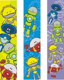 Bookmarks with robot cartoons. Three colorful bookmarks with a variety of robot illustrations or cartoons on them Stock Photography