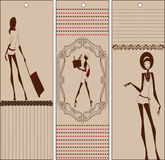 Bookmarks set with girls Royalty Free Stock Image