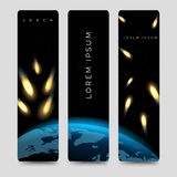 Bookmarks set with meteor shower vector Stock Photography