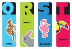 Bookmarks - Tieralphabet Lizenzfreies Stockbild