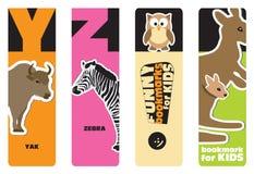 Bookmarks - Tieralphabet Stockfotos