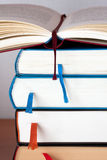 Books. Open books on a library desk Royalty Free Stock Images