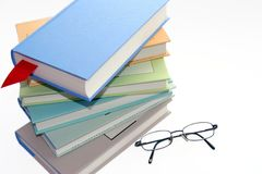 Books. Colourful books and glasses Royalty Free Stock Image