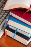 Books. Hardcover books on a library desk Stock Photo