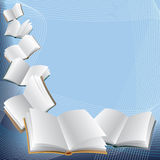 Books. Open flying books on abstract blue background Stock Image