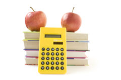Books. Apples, calculator isolated on white backgrouns Stock Photography
