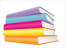 Books. Five coloured books on a white background Royalty Free Stock Photos